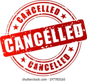 Vector illustration of red cancelled stamp on white background