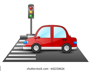 Vector illustration of Red car and traffic lights on a pedestrian crossing