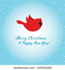 "Vector illustration of a red cardinal bird flying. Sky blue snowy background. Square format. Text ""Merry Christmas and Happy New Year""."