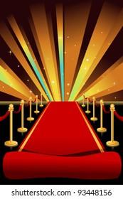 A vector illustration of red carpet background