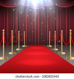 Vector illustration of Red carpet and curtain and  barrier rope in glow of spotlights