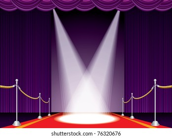 vector illustration of the red carpet on purple stage