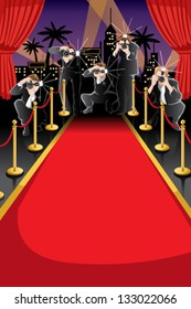 A vector illustration of red carpet and paparazzi background with copyspace