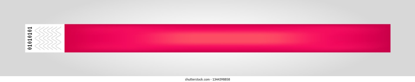 Vector illustration of red cheap empty bracelet or wristband. Sticky hand entrance event paper bracelet isolated. Template or mock up suitable for various uses of identification.