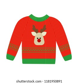 Vector illustration of a red Christmas sweater with deer. Ugly Christmas jumper or sweater with reindeer red and green pattern.
