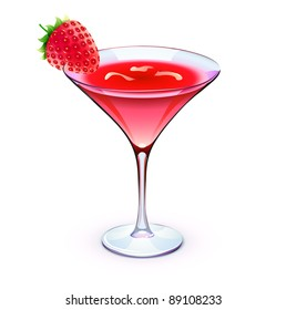 Vector illustration of red cocktail in a sparkling glass with funky strawberry and cubes of ice