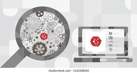 vector illustration of red color detected virus and digital diagnostics for computer scanning and virtual reality healing