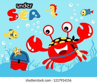 Vector illustration of red crab cartoon and friends with treasure
