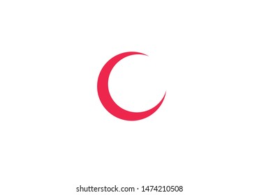 Vector illustration of red crescent moon on white background