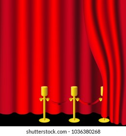 Vector Illustration. Red curtains and draperies on black background