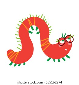 A vector illustration of red cute caterpillar, lady centipede in glasses. Cartoon character.