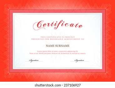 Vector illustration of red detailed certificate