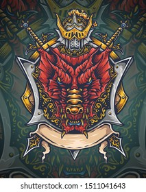 Vector illustration of red dragon shield with dragon slayer helmet