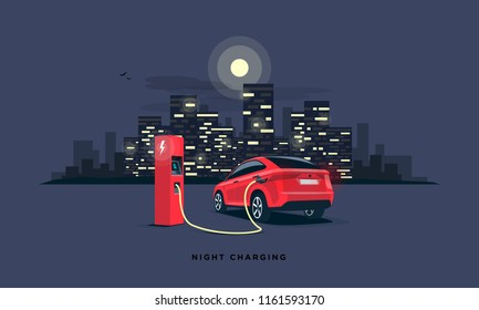 Vector illustration of a red electric car suv charging at the charger station during night time low demand of electricity. Dark city building skyline in the background. Night off-peak car charging.