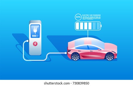 Vector illustration of a red electric car charging at the charger station. Electromobility e-motion concept.