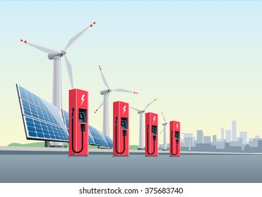 Vector illustration of a red electric charging stations in front of the windmills and solar panels. The city is in the background. Electromobility e-motion concept.