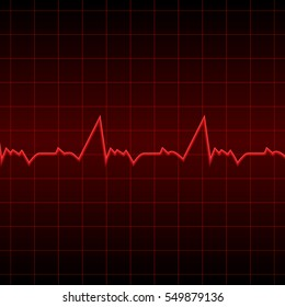 Vector illustration. Red electrocardiogram on a black background. Designed for medical banners, posters, invitations.