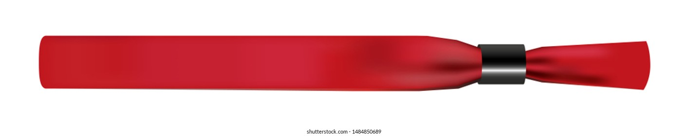 Vector illustration of red empty fabric polyester bracelet or wristband with plastic safety lock. Hand entrance festival bracelet isolated on white. Template or mock up suitable for identification.