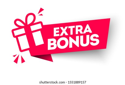 Vector Illustration Red Extra Bonus Label. Modern Web Banner Element With Gift.