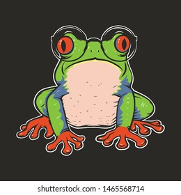 Vector illustration of red eye tree frog with glasses on dark background