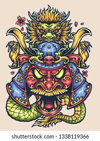 Vector illustration of red face ronin ninja samurai warrior devil mask with dragon