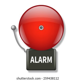 Vector illustration of red fire alarm bell