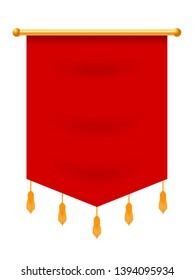Vector illustration of a red flag hanging from a golden pole on a white background. Heraldic symbol knight of glory. Sign of nobility. Banner with empty space. Banner in the medieval style