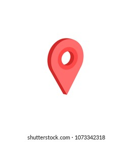 vector illustration red geometry in isometric designation on a map. 3d view. on a white background