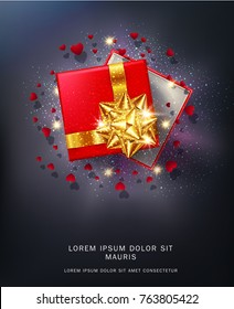 Vector  illustration. Red gift box with a gold bow with sparkles and hearts. Realistic 3d object. Element for the design of a greeting card for Valentine's Day, New Year, Christmas.
