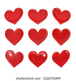 Vector Illustration, Red glass hearts rotate rotate 9 degrees on white background