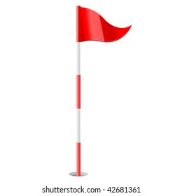 vector illustration of Red golf flag