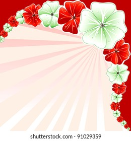 Vector Illustration of Red with Green Floral Background.