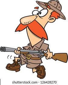 Vector illustration of red headed hunter holding rifle and wearing safari clothes