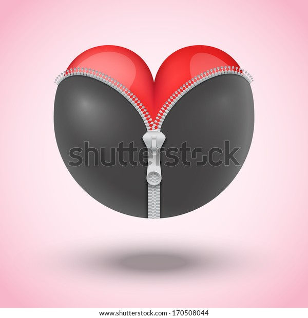 Vector illustration Red heart in black leather and metallic zipper. Symbol erotics or BDSM.
