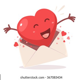 Vector illustration of red heart comes out of the envelope on white background. Art design for Valentine's Day greetings and card, web, banner, poster, flyer, brochure, print.