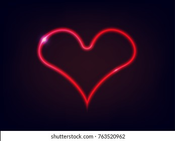 Vector illustration of red heart. Neon light of heart sign on dark blue background. Valentine's day symbol.