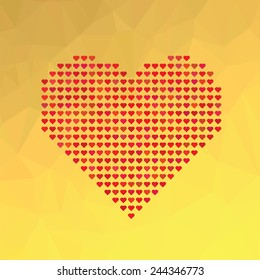 Vector Illustration  with Red Heart Symbol on Yellow Abstract Polygonal Background