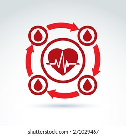 Vector illustration of a red heart symbol with an ecg placed in a circle, heartbeat line, medical cardiology label. Blood donation symbol, circulatory system icon.