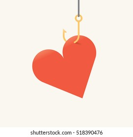 Vector illustration of red heart symbol on fishing hook. Idea - Love and relationships, Valentines day, Prostitution and AIDS danger concepts.