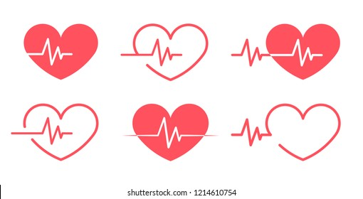 Vector Illustration, Red Heartbeat Icons different 6 styles