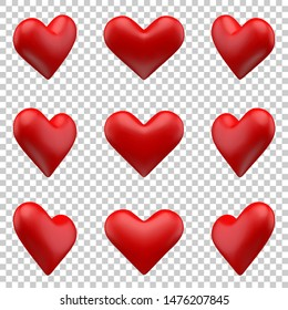 Vector Illustration, Red hearts 9 differrent rotation set 2 mesh objects isolated on tranparent background