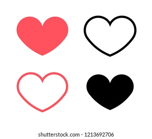 Vector Illustration; Red hearts and black hearts flat icons