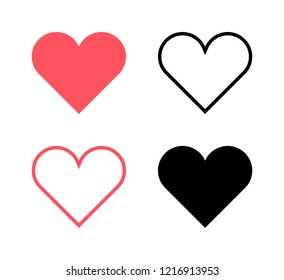 Vector Illustration, Red hearts and black hearts flat icons2