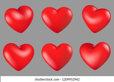 Vector Illustrazione, Red hearts different 6 rotation