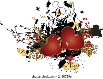 A vector illustration of a red hearts surrounded by butterflies, on top of a messy grunge arrangement  with intricate arabesques