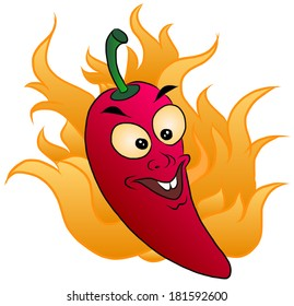 Vector illustration of red hot chili drawing