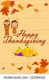 vector illustration of Red Indian wishing Happy Thanksgiving