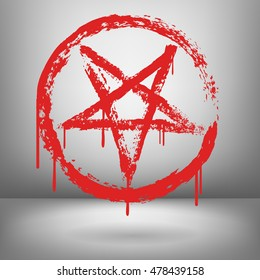 Vector illustration of red inverted pentagram in circle painted by dry brush. Hand drawn symbol. Drops of blood, Textured element. Bloody lines. Evil. Occultism.