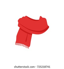 Vector illustration red knitted scarf isolated on white background.  Winter scarf