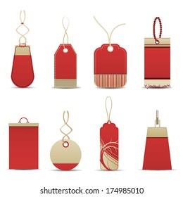 Vector illustration of red  labels.